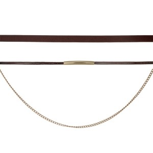"Brown faux leather choker set with gold tone hardware. Approximately 14"" in length."