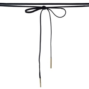 "Black faux suede wrap necklace with gold tone hardware. Approximately 84"" in length."