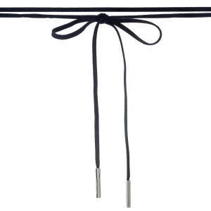 "Black faux suede wrap necklace with silver tone hardware. Approximately 84"" in length."