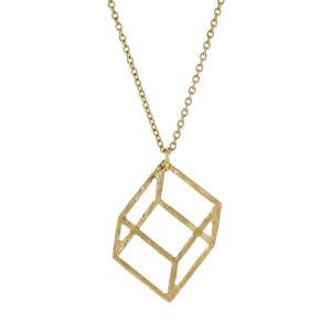 "Dainty gold tone necklace with a geometric square pendant. Approximately 18"" in length."