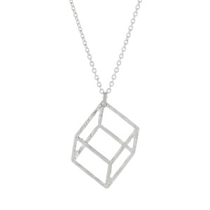"Dainty silver tone necklace with a geometric square pendant. Approximately 18"" in length."
