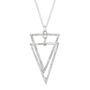 "Dainty silver tone necklace with an interlocking triangle pendant. Approximately 18"" in length."