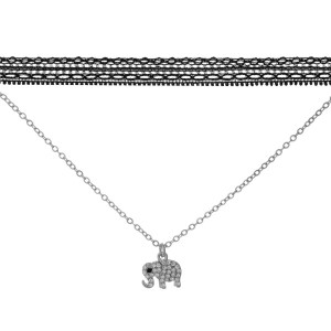 "Double layer silver tone choker necklace with an elephant pendant. Approximately 14"" in length."