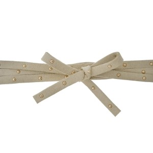 """Tan suede wrap necklace with gold tone studs. Approximately 50"""" in length."""