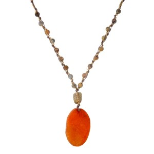 "Bronze cord necklace with knotted natural stone beads and a orange stone pendant. Approximately 32"" in length. Handmade in the USA."