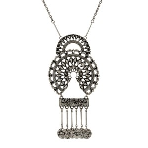 "Burnished silver tone necklace with a hammered bohemian pendant with metal fringe. Approximately 32"" in length."