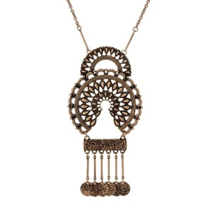 "Burnished gold tone necklace with a hammered bohemian pendant with metal fringe. Approximately 32"" in length."