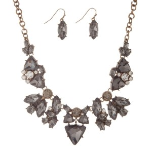 """Gold tone statement necklace set with smoky charcoal and clear rhinestones. Comes with matching fishhook earrings. Approximately 16"""" in length."""