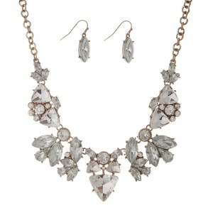 """Gold tone statement necklace set with clear rhinestones and matching fishhook earrings. Approximately 16"""" in length."""