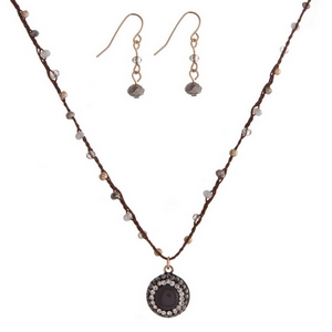 "Brown cord necklace set with gray and gold beads and matching fishhook earrings. Approximately 16"" in length."