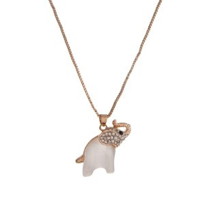 "Dainty gold tone necklace with a clear rhinestone and small pearl white elephant pendant. Approximately 18"" in length."