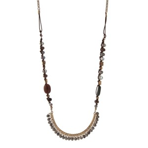 "Gold tone and brown cord necklace with a gray, brown, and green beaded half circle pendant. Approximately 32"" in length."