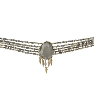 "Multi row beaded choker with a gray faceted stone focal and gold tone accents. Approximately 12"" in length."