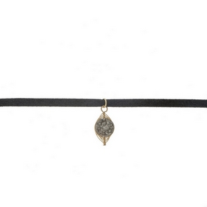"Gray faux suede choker with a gold tone, wire wrapped stone. Approximately 12"" in length."