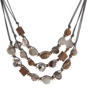 "Gray cord multi layer necklace with picture jasper, gray and bronze beads. Approximately 16"" in length."