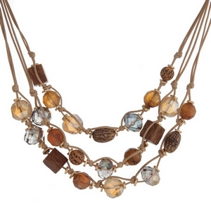 """Tan cord multi layer necklace with picture jasper, brown and bronze beads. Approximately 16"""" in length."""