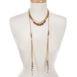"Gold tone multi layer necklace with bronze and burgundy beads. Approximately 16"" in length."