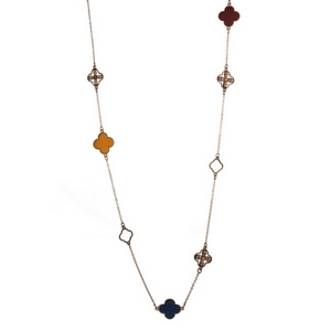 "Gold tone necklace set with burgundy, green, navy and mustard yellow clover stationaries. Approximately 45"" in length."
