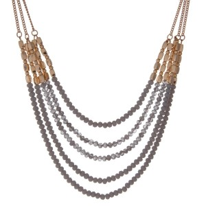 """Gold tone multi strand necklace with gray faceted beads. Approximately 16"""" in length."""