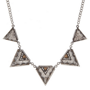 Silver tone necklace with hammered triangles, accented with clear rhinestones and an Aztec print.