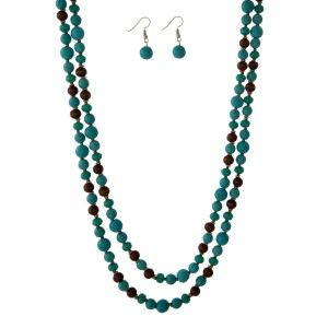 "Turquoise and brown beaded wrap necklace set with matching fishhook earrings. Approximately 60"" in length."