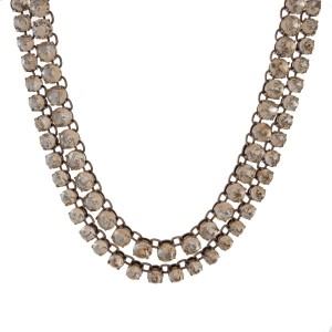 """Burnished gold tone double row necklace with faceted topaz stones. Approximately 16"""" in length."""
