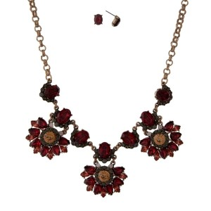 """Burnished gold tone necklace with red, gray and topaz rhinestones and matching stud earrings. Approximately 16"""" in length."""