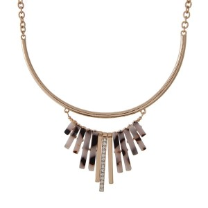 "Gold tone necklace set with tortoise fringe. Approximately 16"" in length."