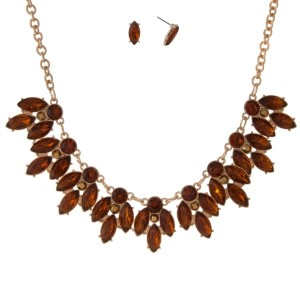 """Gold tone necklace set with topaz faceted rhinestones and matching stud earrings. Approximately 16"""" in length."""