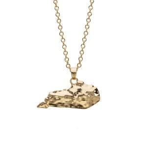 "Gold tone necklace with a hammered pendant in the shape of Kentucky. Approximately 18"" in length."