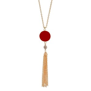 "Gold tone necklace with a crimson, epoxy circle pendant for vinyl monograms and a chain tassel. Approximately 32"" in length."