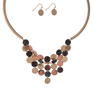 """Gold tone necklace set with a tri-tone bib and matching fishhook earrings. Approximately 16"""" in length."""