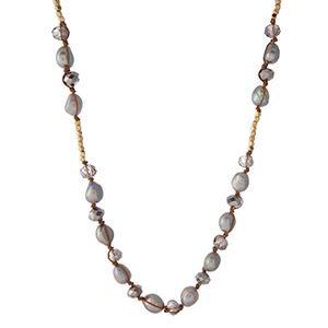 "Brown cord necklace with gold tone square beads, freshwater pearls, and gray faceted beads. Approximately 25"" in length. Handmade in the USA."