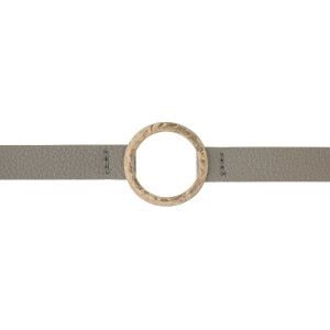 "Gray faux leather choker with a hammered gold tone circle focal. Approximately 12"" in length."