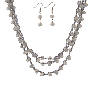 """Gray, triple row crocheted cord necklace set with gray beads and matching fishhook earrings. Approximately 16"""" in length."""