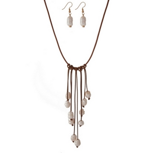 "Brown cord necklace with freshwater pearl beaded fringe and matching fishhook earrings. Approximately 18"" in length."
