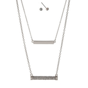 """Silver tone, double layer necklace set with a pave rhinestone bar pendant and matching stud earrings. Approximately 16"""" in length."""