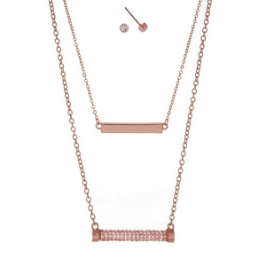 """Rose gold tone, double layer necklace set with a pave rhinestone bar pendant and matching stud earrings. Approximately 16"""" in length."""