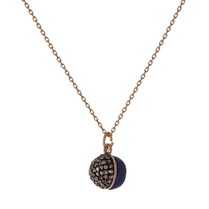 """Dainty gold tone necklace with a half blue natural stone and half hematite pave rhinestone bead pendant. Approximately 16"""" in length."""