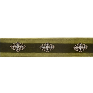 "Olive green velvet choker with gold tone accents. Approximately 12"" in length."