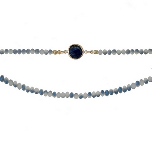 """Gray beaded, two layer choker with a blue stone focal. Approximately 12"""" in length."""