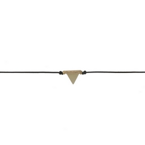 """Black waxed cord choker with a beige triangle stone focal. Approximately 12"""" in length."""