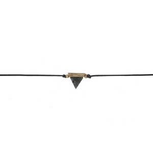 """Black waxed cord choker with a labradorite triangle stone focal. Approximately 12"""" in length."""