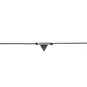 """Black waxed cord choker with a blue triangle stone focal. Approximately 12"""" in length."""