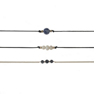 "Three piece choker set with pearl beads, gray beads, and a lapis bead. All approximately 12"" in length."