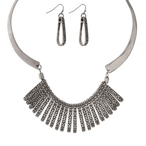 "Burnished silver tone statement necklace set with matching fishhook earrings. Approximately 16"" in length."