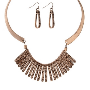 "Burnished gold tone statement necklace set with matching fishhook earrings. Approximately 16"" in length."