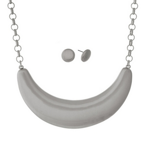 """Silver tone necklace set with a brushed half circle pendant. Approximately 16"""" in length."""