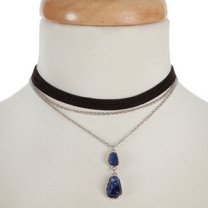 """Black and silver tone layered choker with a lapis stone pendant. Approximately 12"""" in length."""