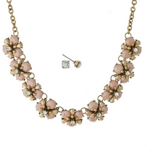 """Burnished gold tone necklace set with peach stone flowers and matching stud earrings. Approximately 16"""" in length."""